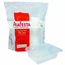 Pote com tampa retangular Prafesta 500ml c/24 unidades