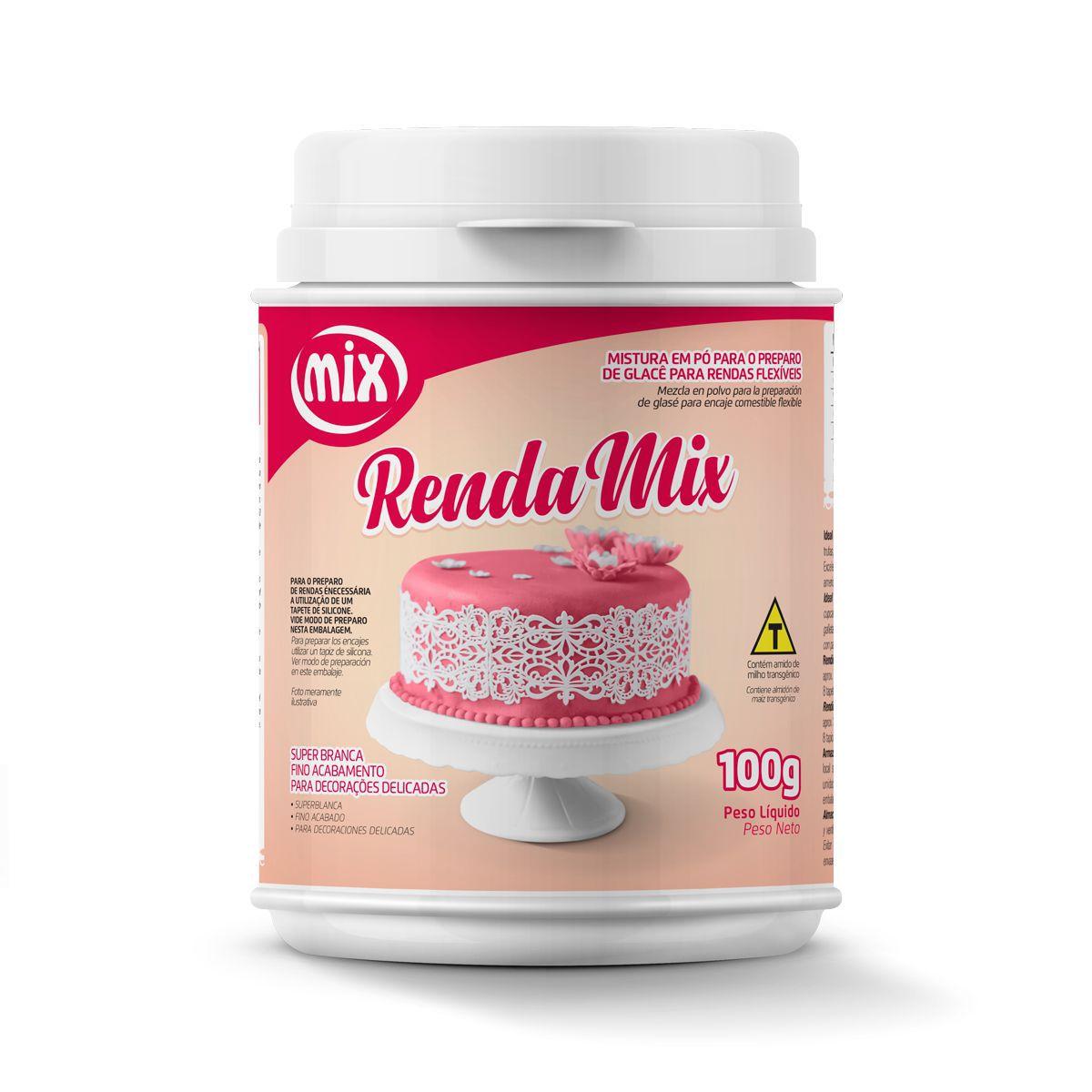 Renda Mix Mistura em Pó para o preparo de Glacê para rendas flexíveis 100g