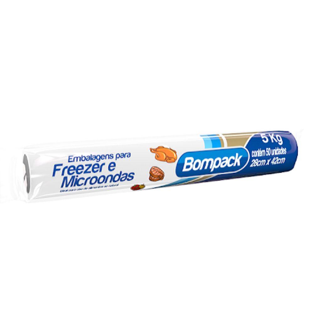 Saco Freezer 5kg c/ 50 Bompack 28cm x 42cm.