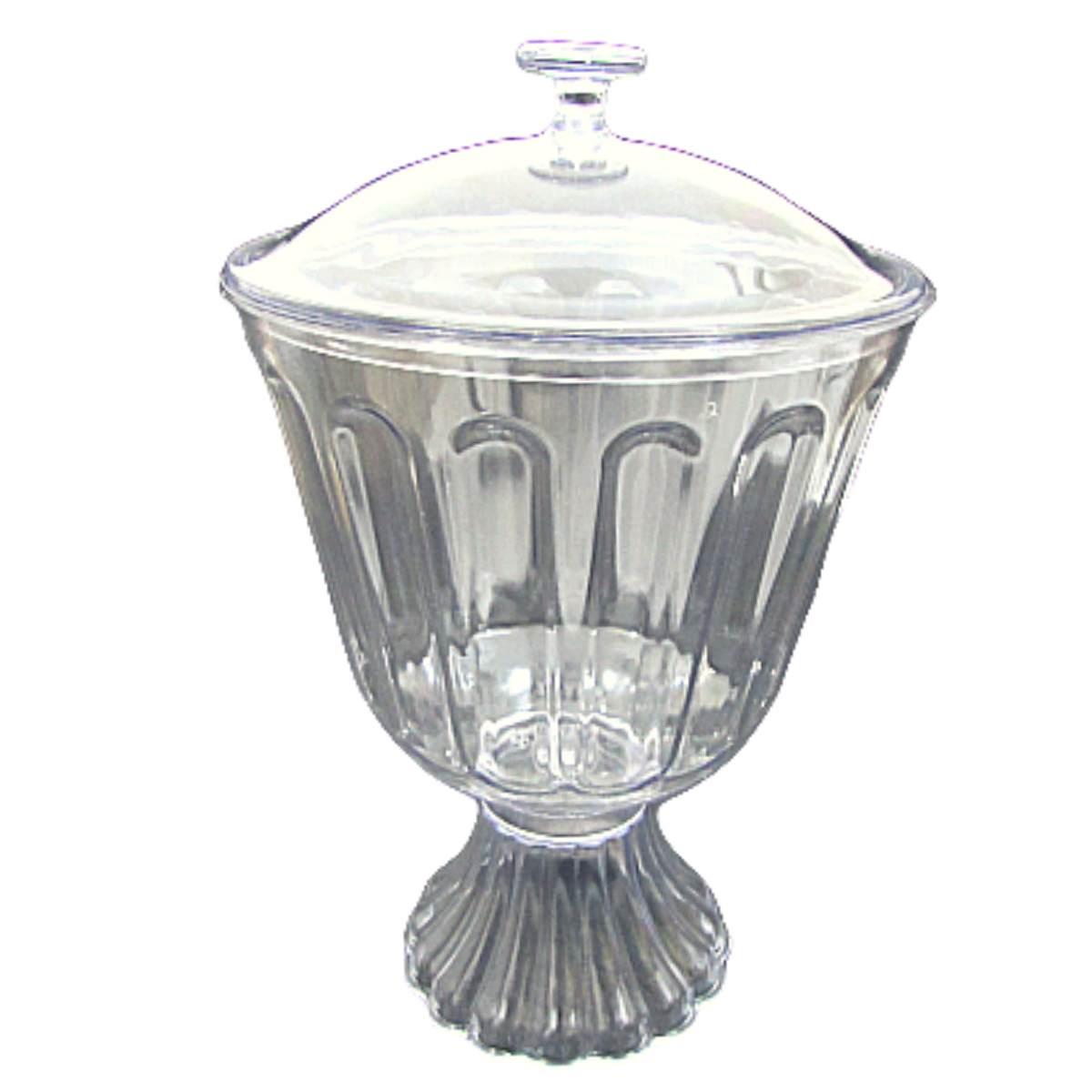 Taça de Acrílico com tampa Transparente Bolo de Colher Confeiteiro 1,250ml