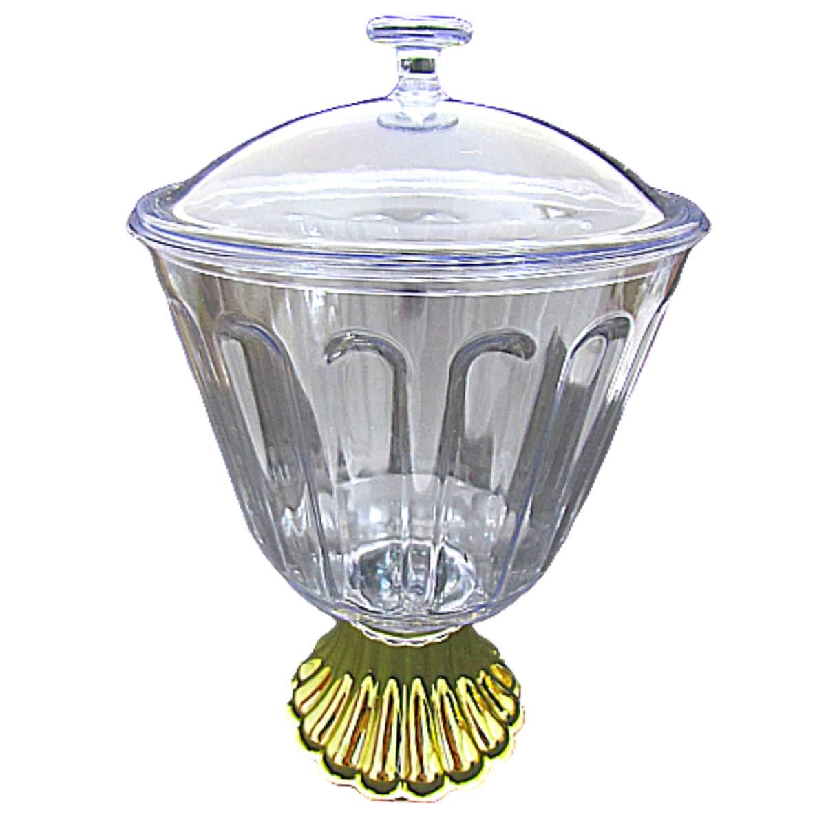 Taça de Acrílico Luxo Ouro Bolo de Colher Confeiteiro 1,250ml C/tampa