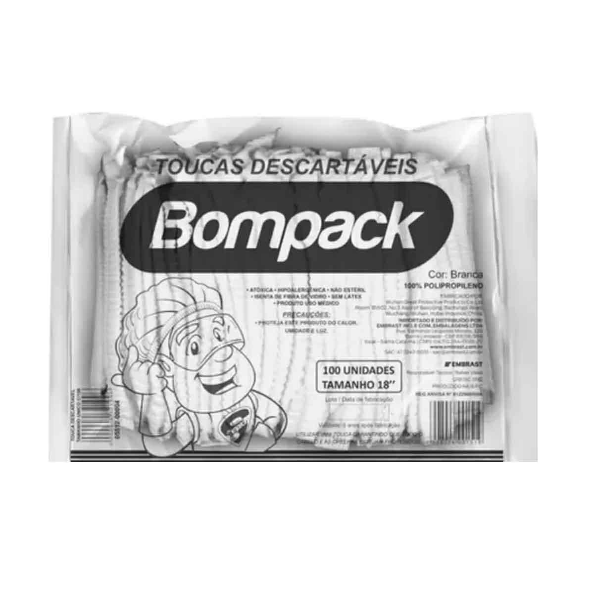 Toucas Descartáveis TNT Branca Bompack c/100