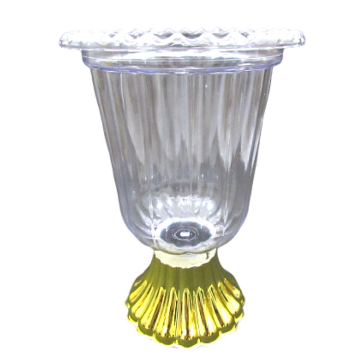 Vaso Grego transparente Luxo Ouro Taça de Acrílico