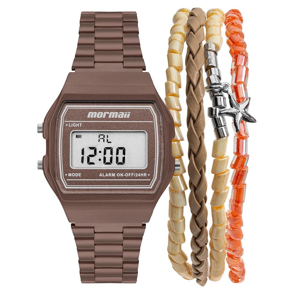 KIT Relógio Mormaii Digital Feminino MOJH02BJ/K8M