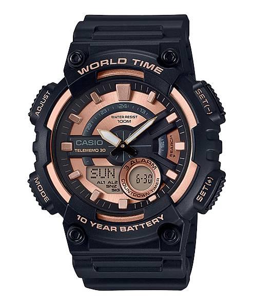 Relógio Casio Masculino World Time Anadigi Quartz AEQ110W-1A3VDF