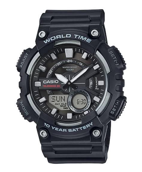 Relógio Casio Masculino World Time Anadigi Quartz AEQ-110W-1AVDF