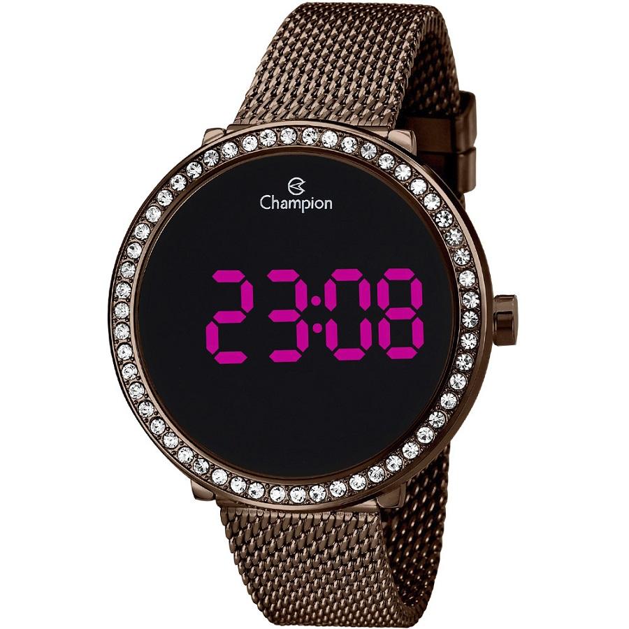 Relógio Feminino Champion Digital CH48037R - Marrom
