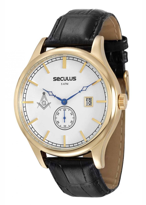 Relógio Seculus Maçonaria Masculino Quartz 20369GPSVDC1-M