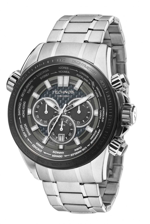Relógio Technos Performance TS Carbon Hora Mundi Masculino Quartz OS2AAK/1K