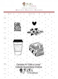 Carimbo de polímero - Livros e café