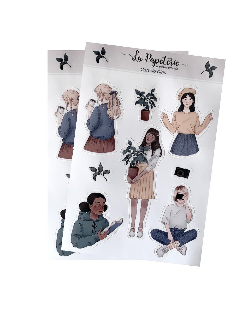 2 cartelas de adesivos - Girls