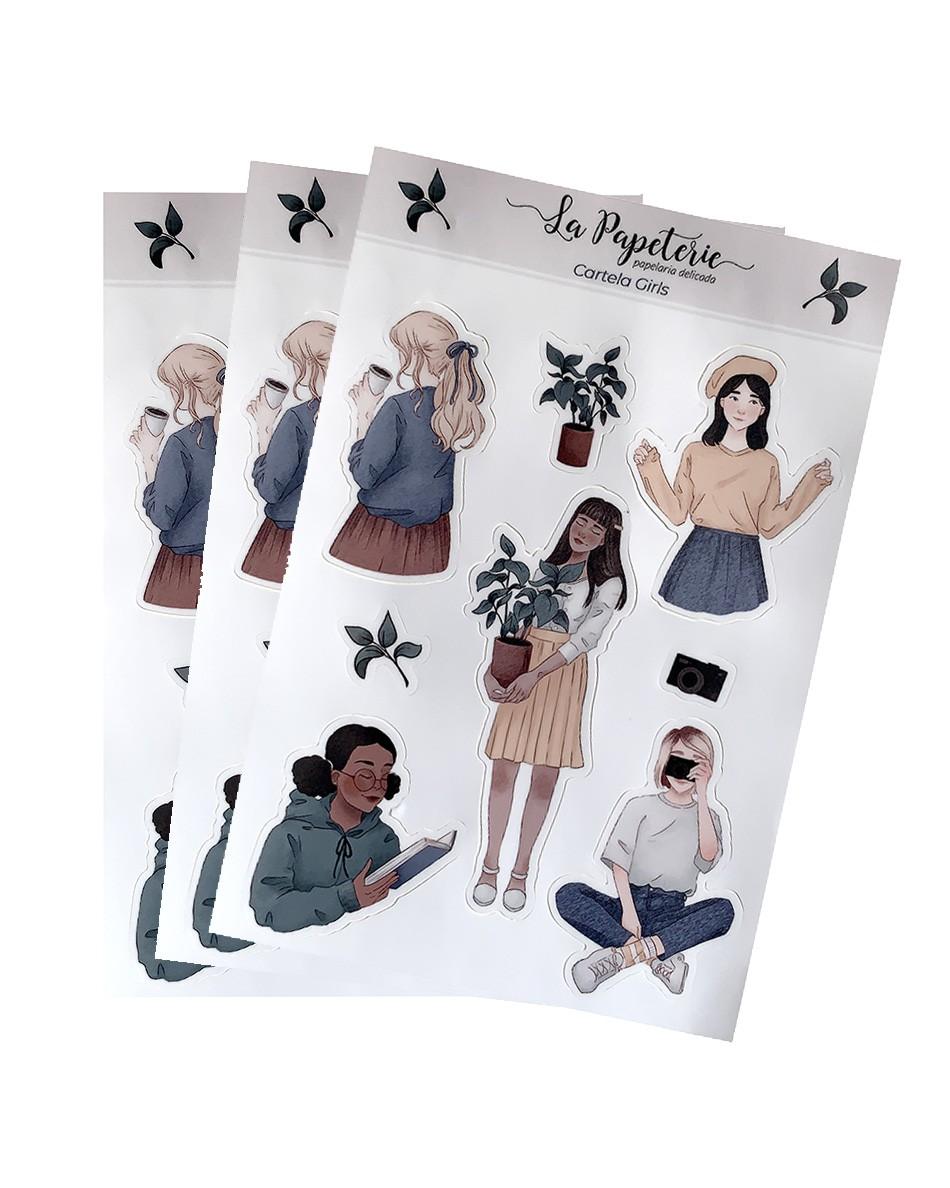 3 cartelas de adesivos - Girls
