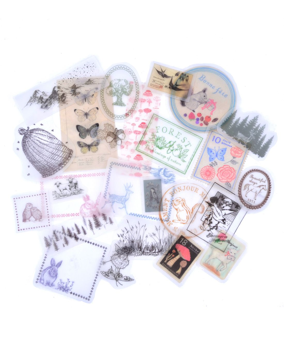 Adesivos de papel vegetal - Forest Story