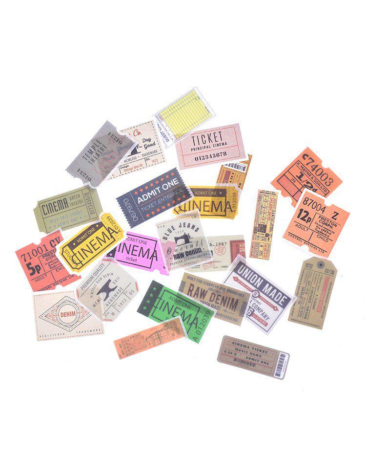 Caixinha de adesivos - Tickets Vintage