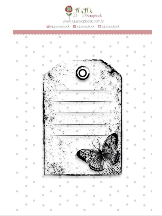 Carimbo de polímero - Tag borboleta