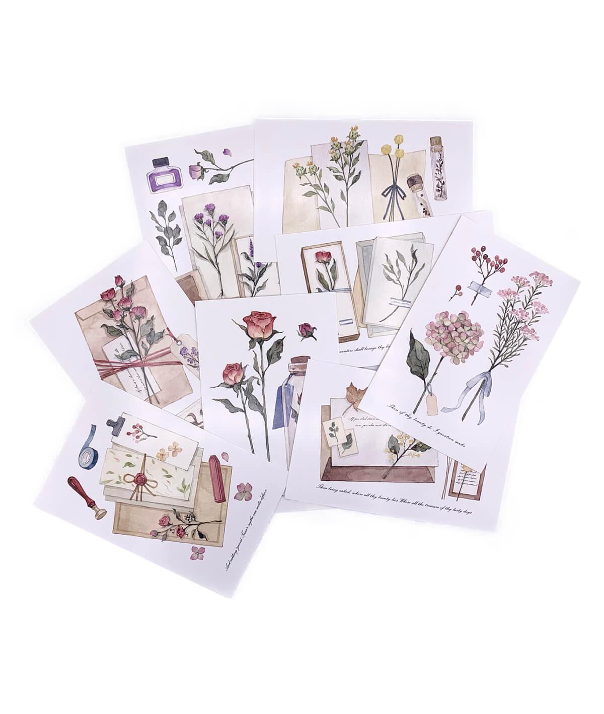Postal - Flores e Cartas