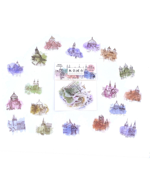 Saquinho de adesivos - Watercolor City