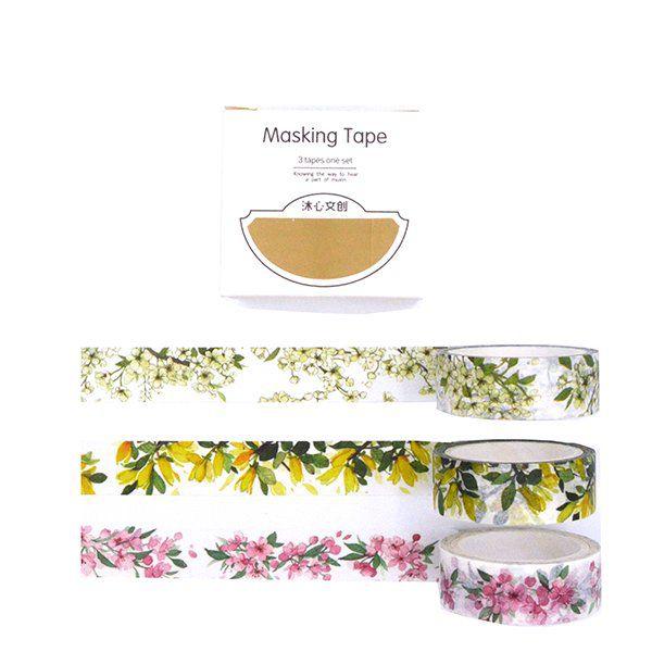 Trio de Washi tapes - Floral clássico