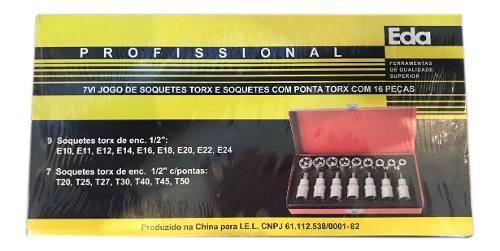 Jogo Kit Soquetes com Ponta Torx 16 Peças Eda 7VI + Maleta