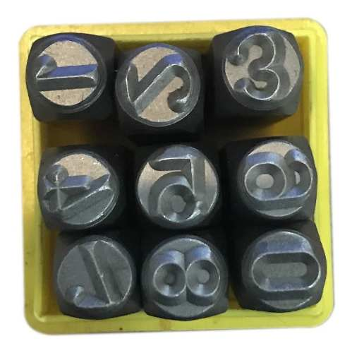 Marcador Punção Números 4mm - 9 Peças