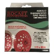 Rebolo Diamantado Prato Com Rosca 115xm14 Rocast