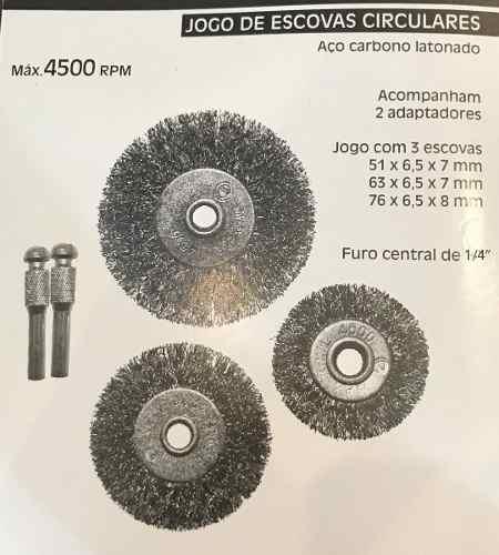 Jogo Kit Escova De Aço Circular 5pçs P/ Furadeira