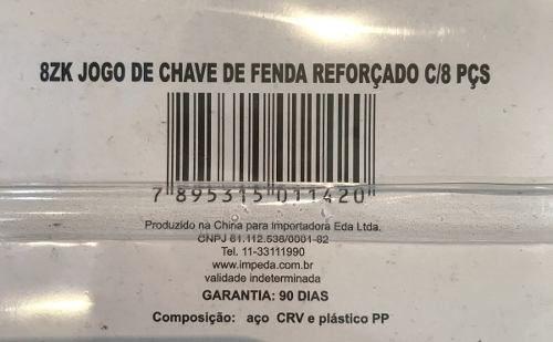 Jogo Chaves Sextavadas Fenda/philips Reforçada 8pçs - Eda 8zk