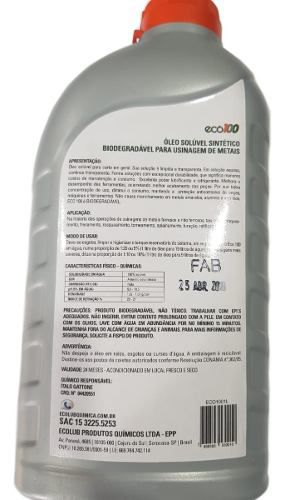 Kit 10 Óleo Solúvel Fluido Sintético P/ Usinagem 1l Ecolub