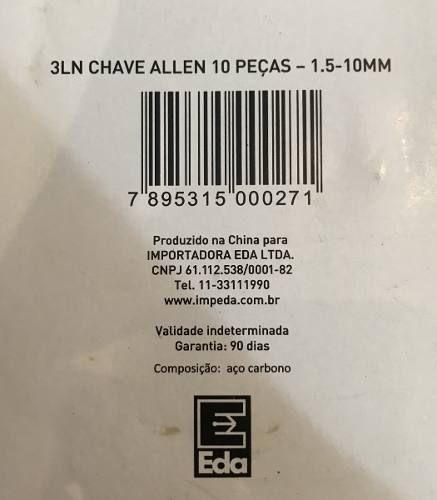 Jogo Chave Allen Com 10pçs Com Argola 1,5 10 Mm - Eda 3ln