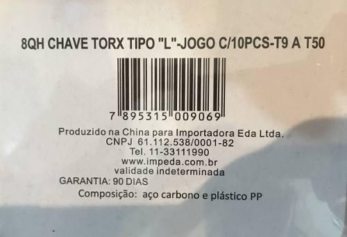 Jogo De Chaves Torx L 10pçs (t 9 A T 50) - Eda 8qh
