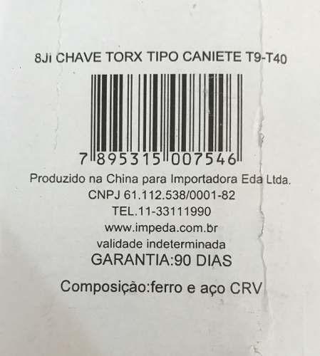 Chave Torx Jogo Tipo Canivete T09 A T40 C/08 Pcs - Eda 8ji