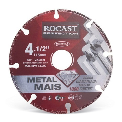 Disco De Corte Diamantado Metal Mais 4.1/2 - 115mm