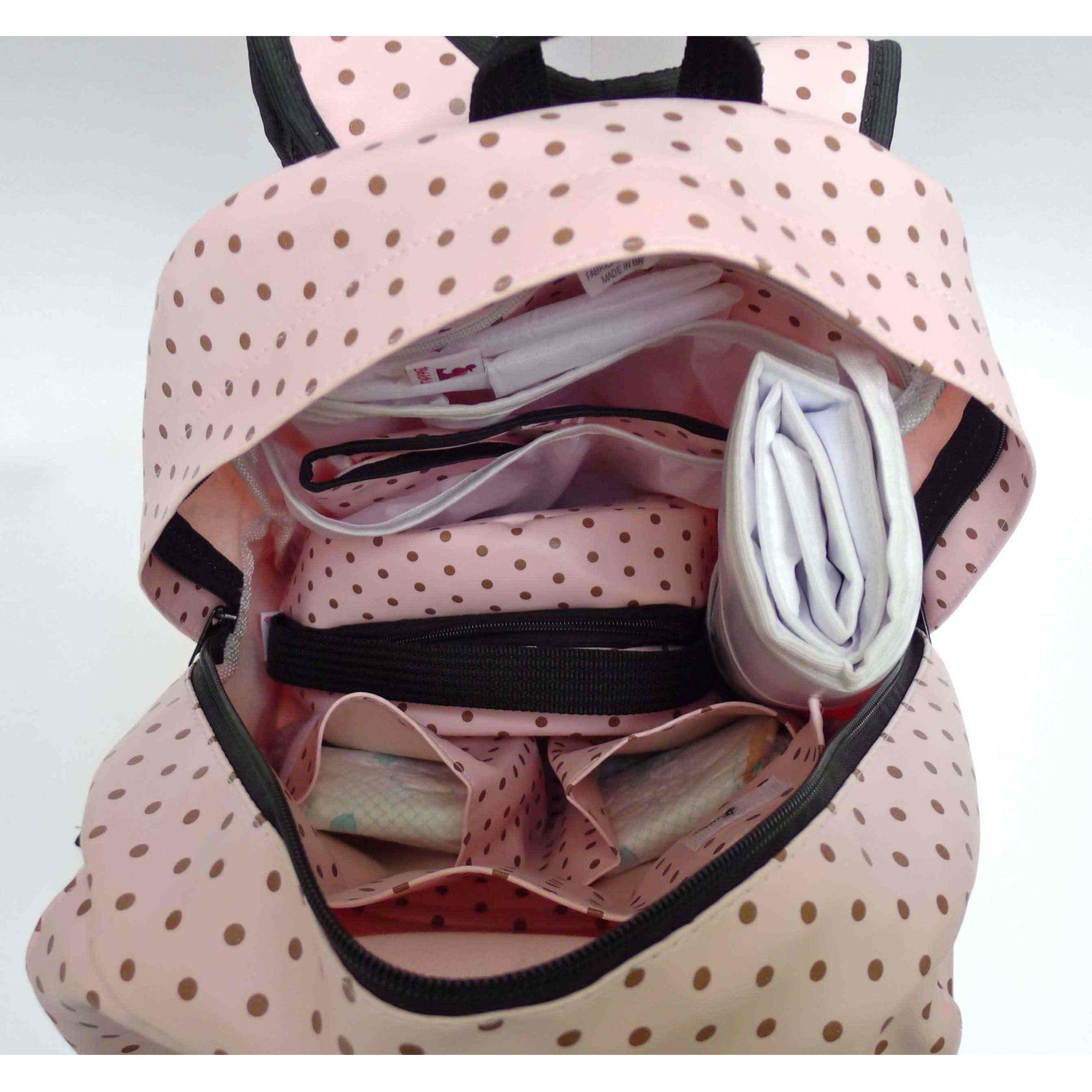 Mochila de maternidade - Bebêchila Térmica Bolinha Rosa