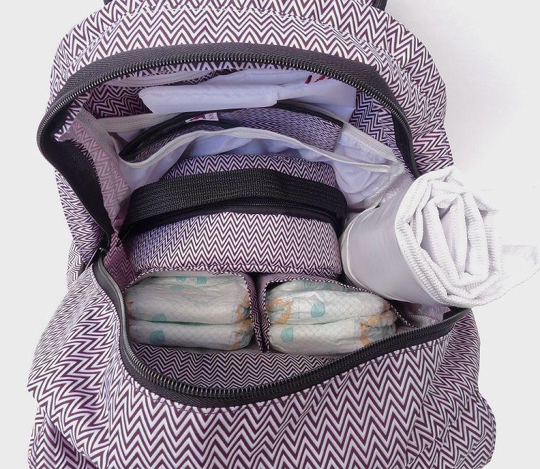 Mochila de maternidade - Bebêchila Térmica Chevron Branca e Preta