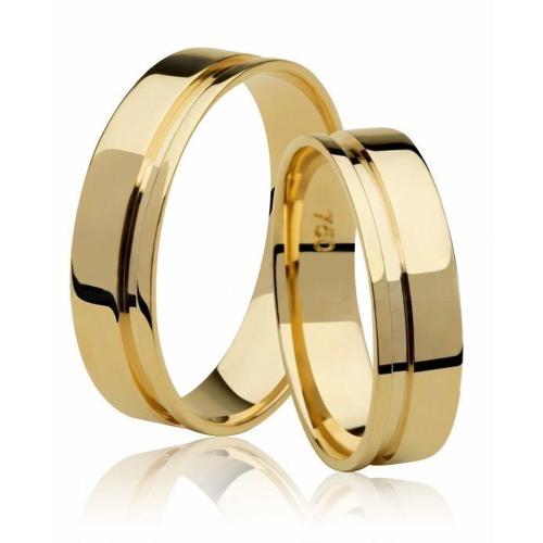 Alianças Casamento De Ouro 18k Friso Lateral Com 7,9 Gramas O Par aro 18 e 12