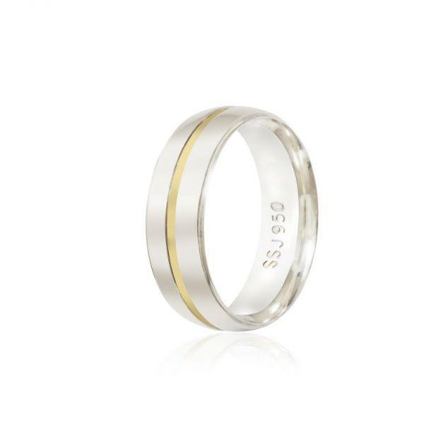 Alianças Compromisso Prata 7mm com ouro