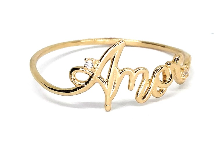 Anel de ouro 18k Amor Aro 17