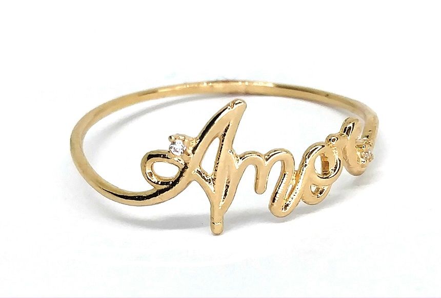 Anel de ouro 18k Amor Aro 22