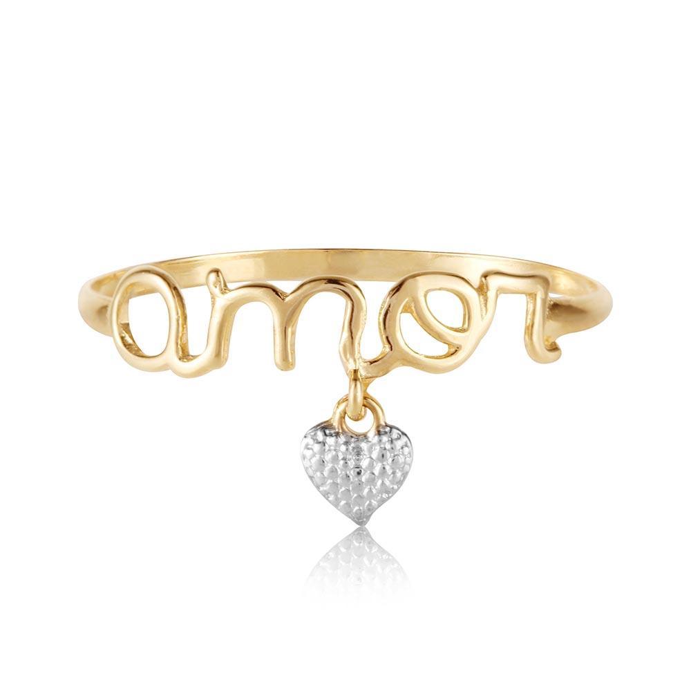 Anel de ouro 18k Amor com Pingente