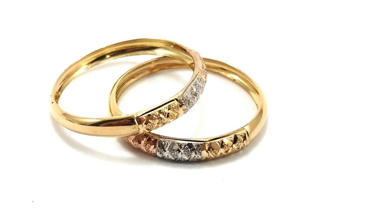 Anel de ouro 18k aparador diamantado tricolor