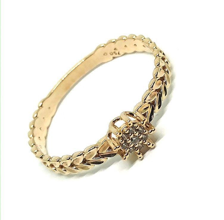 Anel de Ouro 18k Aro escamado com Zirconias