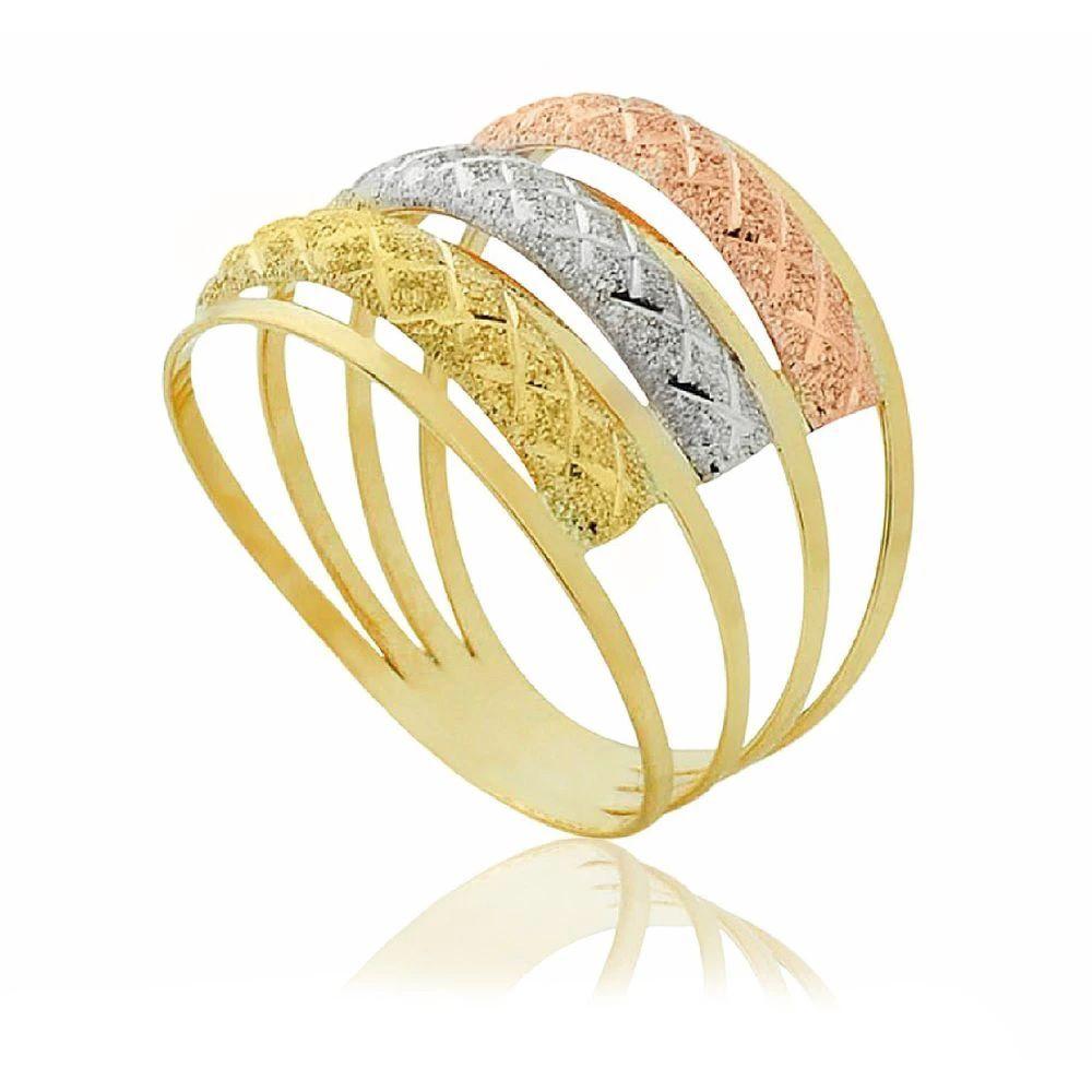Anel de ouro 18K Aro Triplo Tricolor