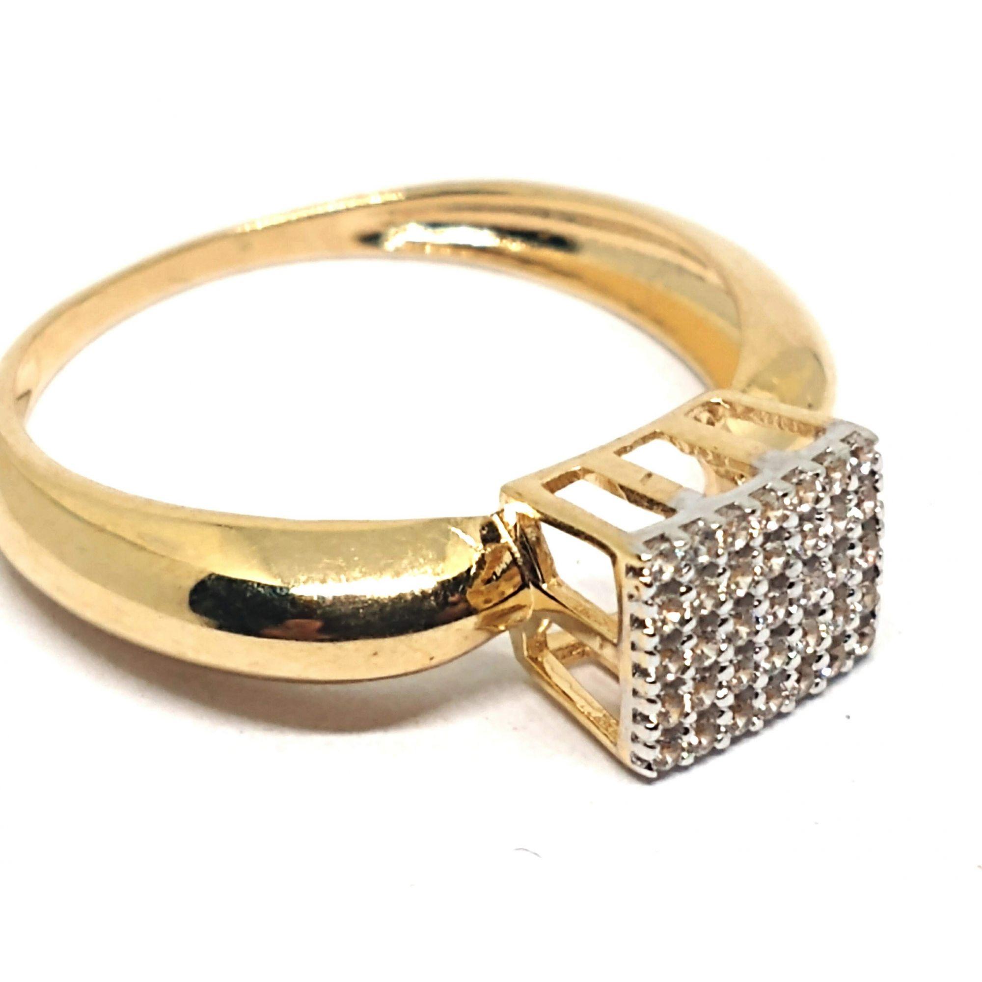 Anel de ouro 18k Chuveiro Quadrado