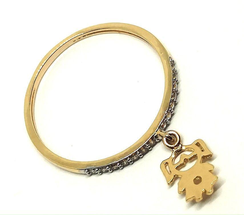 Anel de ouro 18k com pingentes cravejados em zircônia  filha