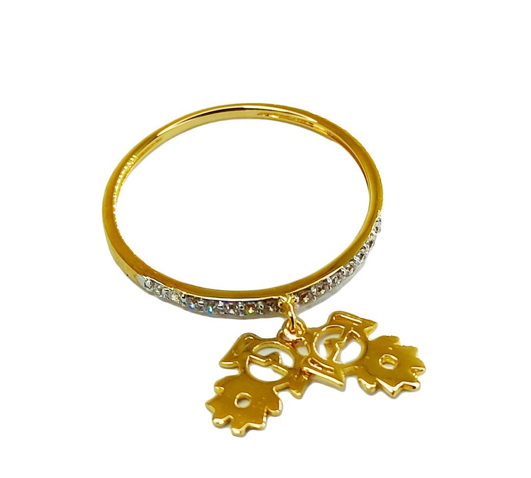 Anel de ouro 18k com pingentes cravejados em zircônia  filhas