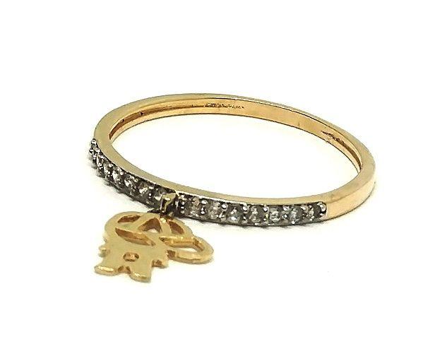 Anel de ouro 18k com pingentes cravejados em zircônia  filho