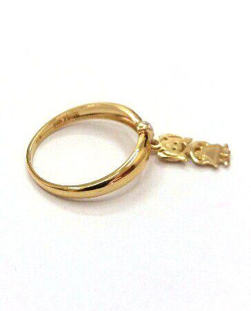 Anel de ouro 18k com pingentes cravejados em zircônia  filhos