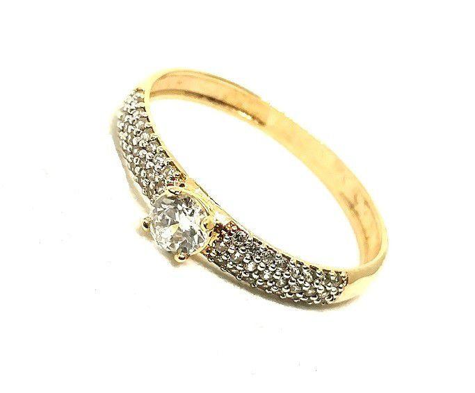 Anel de ouro 18k Solitário com zircônias