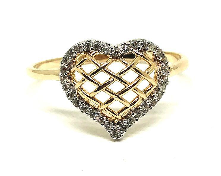Anel de ouro 18k Coração com pedras
