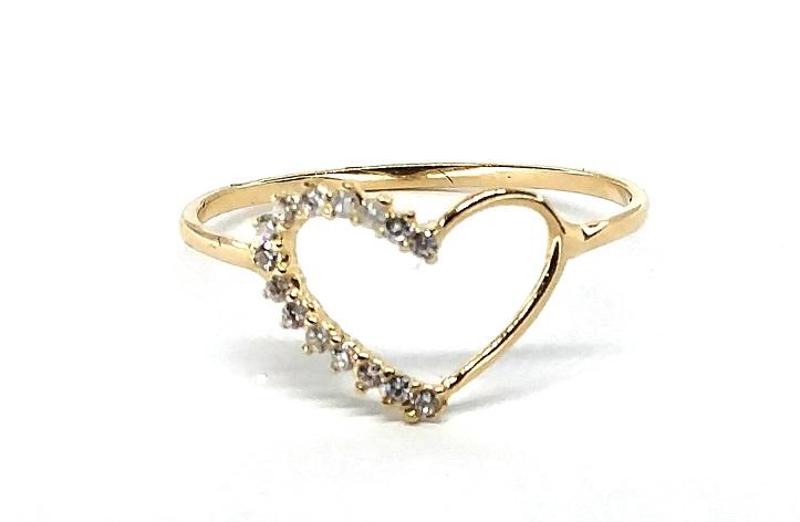 Anel de ouro 18K Coração com Pedras Aro 17